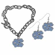 North Carolina Tar Heels Chain Bracelet & Dangle Earring Set