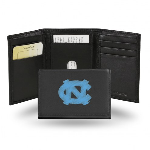 North Carolina Tar Heels College Embroidered Leather Tri-Fold Wallet