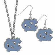 North Carolina Tar Heels Dangle Earrings & Chain Necklace Set