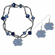 North Carolina Tar Heels Dangle Earrings & Crystal Bead Bracelet Set