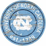 North Carolina Tar Heels Distressed Round Sign