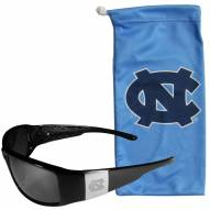 North Carolina Tar Heels Etched Chrome Wrap Sunglasses & Bag