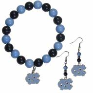North Carolina Tar Heels Fan Bead Earrings & Bracelet Set
