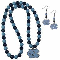 North Carolina Tar Heels Fan Bead Earrings & Necklace Set