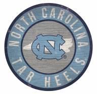 North Carolina Tar Heels Round State Wood Sign