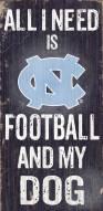 North Carolina Tar Heels Football & Dog Wood Sign