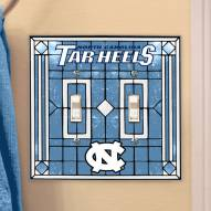 North Carolina Tar Heels Glass Double Switch Plate Cover