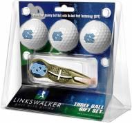 North Carolina Tar Heels Gold Crosshair Divot Tool & 3 Golf Ball Gift Pack