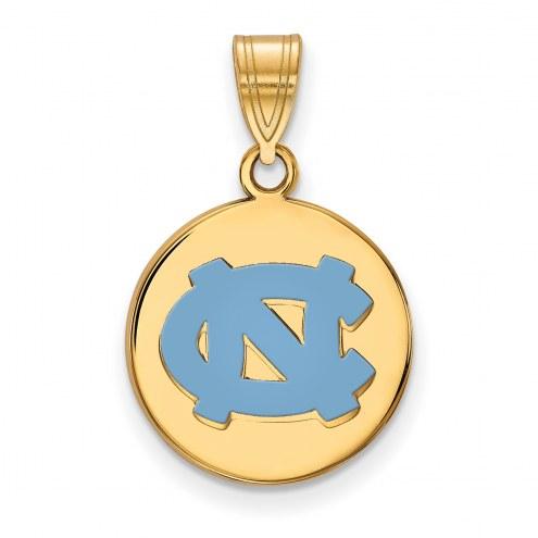 North Carolina Tar Heels Sterling Silver Gold Plated Medium Enameled Disc Pendant