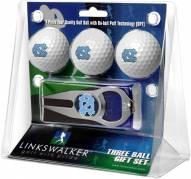 North Carolina Tar Heels Golf Ball Gift Pack with Hat Trick Divot Tool