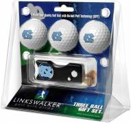 North Carolina Tar Heels Golf Ball Gift Pack with Spring Action Divot Tool