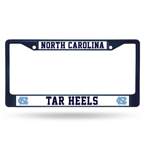 North Carolina Tar Heels Navy Colored Chrome License Plate Frame