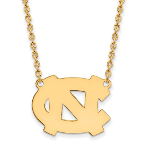 North Carolina Tar Heels NCAA Sterling Silver Gold Plated Large Pendant Necklace
