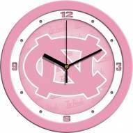 North Carolina Tar Heels Pink Wall Clock