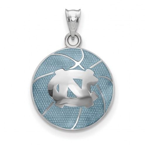 North Carolina Tar Heels Sterling Silver Enameled Basketball Pendant