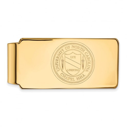 North Carolina Tar Heels Sterling Silver Gold Plated Crest Money Clip