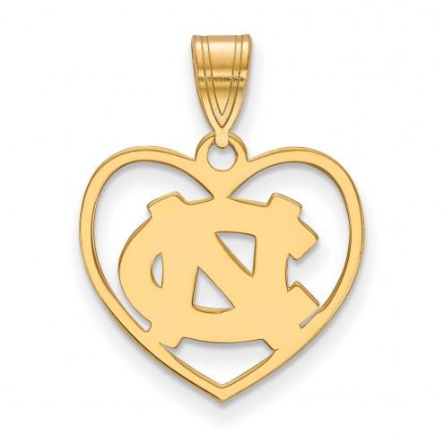 North Carolina Tar Heels Sterling Silver Gold Plated Heart Pendant