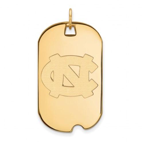 North Carolina Tar Heels Sterling Silver Gold Plated Large Dog Tag