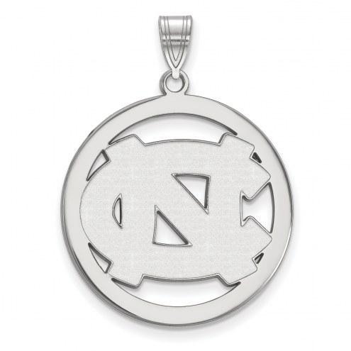North Carolina Tar Heels Sterling Silver Large Circle Pendant