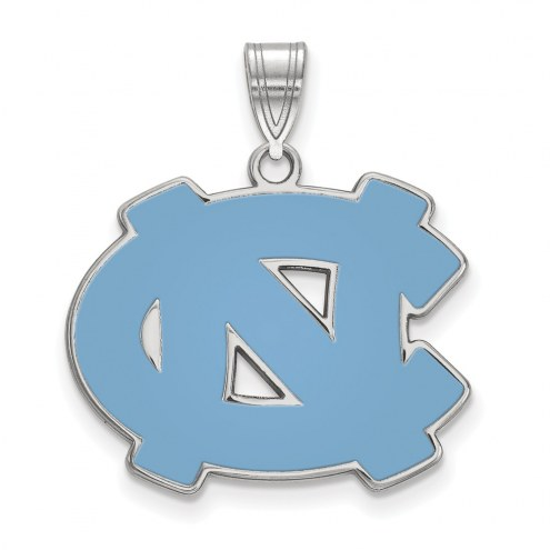 North Carolina Tar Heels Sterling Silver Large Enameled Pendant