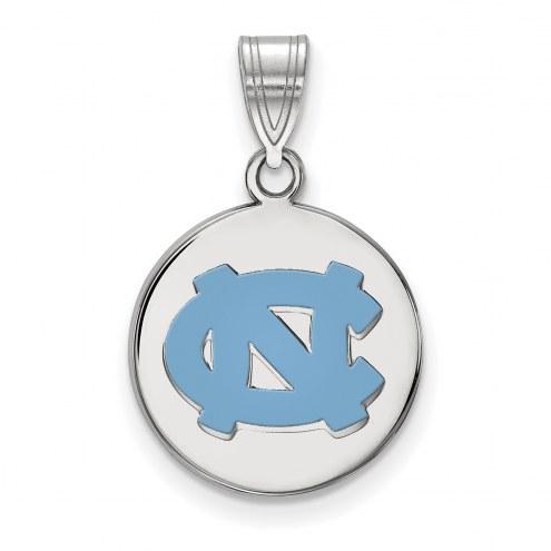 North Carolina Tar Heels Sterling Silver Medium Enameled Disc Pendant