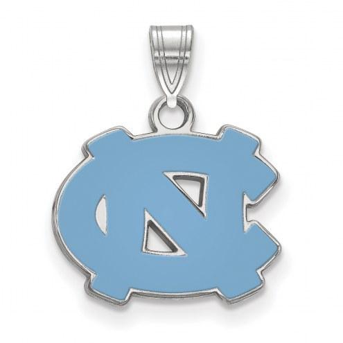 North Carolina Tar Heels Sterling Silver Small Enamel Pendant