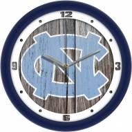 North Carolina Tar Heels Weathered Wall Clock