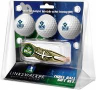 North Carolina Wilmington Seahawks Gold Crosshair Divot Tool & 3 Golf Ball Gift Pack
