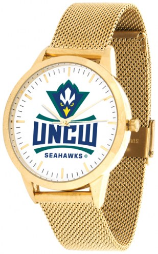 North Carolina Wilmington Seahawks Gold Mesh Statement Watch