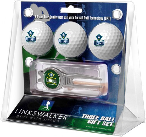 North Carolina Wilmington Seahawks Golf Ball Gift Pack with Kool Tool