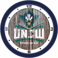 North Carolina Wilmington Seahawks Weathered Wood Wall Clock