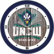 North Carolina Wilmington Seahawks Weathered Wood Wall Clock