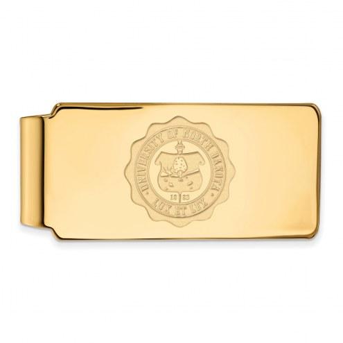 North Dakota Fighting Hawks Sterling Silver Gold Plated Crest Money Clip