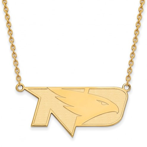 North Dakota Fighting Hawks Sterling Silver Gold Plated Large Pendant Necklace
