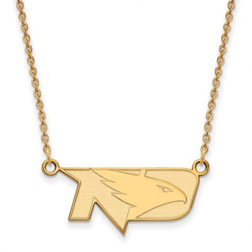 North Dakota Fighting Hawks Sterling Silver Gold Plated Small Pendant Necklace