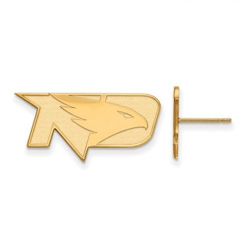 North Dakota Fighting Hawks Sterling Silver Gold Plated Small Post Earrings