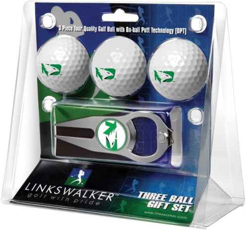 North Dakota Fighting Hawks Golf Ball Gift Pack with Hat Trick Divot Tool