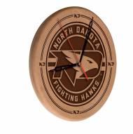North Dakota Fighting Hawks Laser Engraved Wood Clock