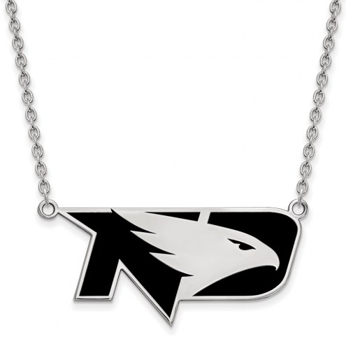 North Dakota Fighting Hawks Sterling Silver Large Enameled Pendant Necklace