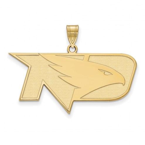 North Dakota Fighting Hawks NCAA Sterling Silver Gold Plated Large Pendant