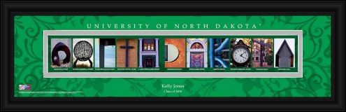 North Dakota Fighting Hawks Personalized Campus Letter Art