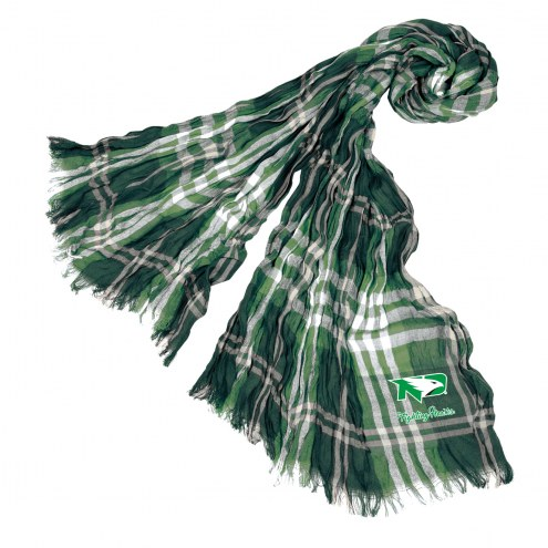 North Dakota Fighting Hawks Plaid Crinkle Scarf