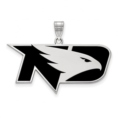 North Dakota Fighting Hawks Sterling Silver Large Enameled Pendant