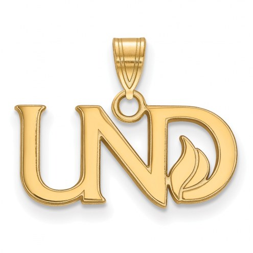 North Dakota Fighting Hawks Sterling Silver Gold Plated Small Pendant