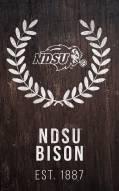 """North Dakota State Bison 11"""" x 19"""" Laurel Wreath Sign"""