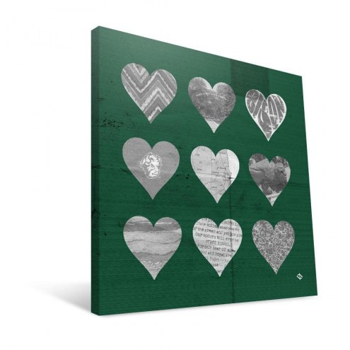 "North Dakota State Bison 12"" x 12"" Hearts Canvas Print"