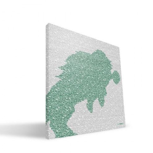 "North Dakota State Bison 16"" x 16"" Typo Canvas Print"