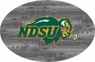 "North Dakota State Bison 46"" Distressed Wood Oval Sign"