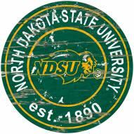 North Dakota State Bison Distressed Round Sign