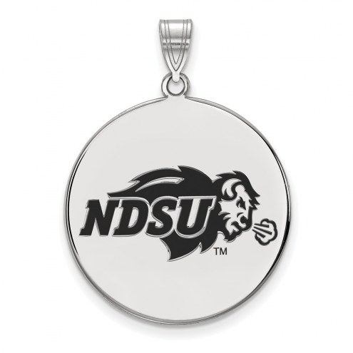 North Dakota State Bison Sterling Silver Extra Large Enameled Disc Pendant